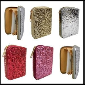 Handbags - GLITTER GLAM Mini Zippered Wallet w Coin Pocket